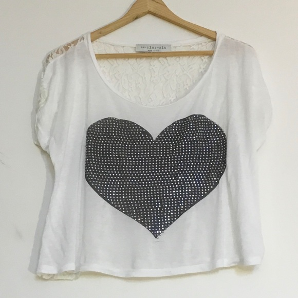White top with sparkle heart, lace back, small